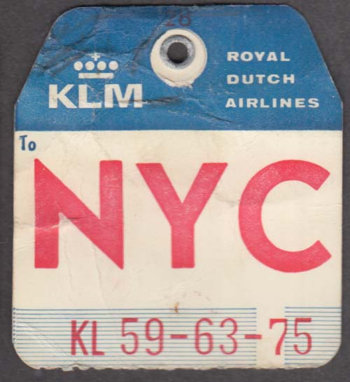 KLM Royal Dutch Airlines flown baggage check NYC New York 1960s
