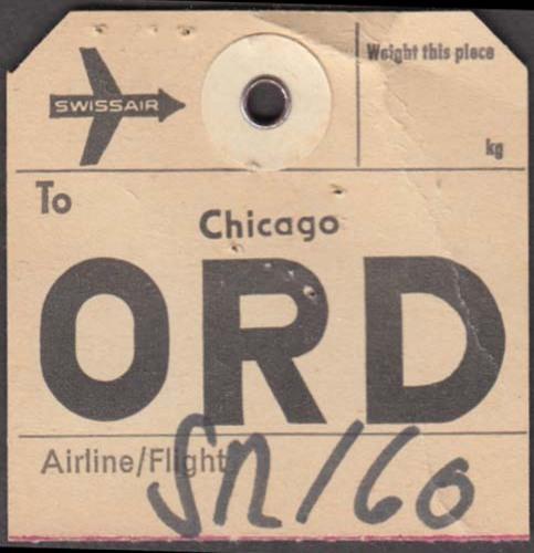 Swissair airlines flown baggage check Zurich-ORD-Chicago 1960s