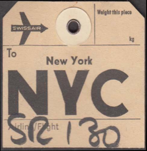 Swissair airlines flown baggage check Zurich-NYC New York 1960s