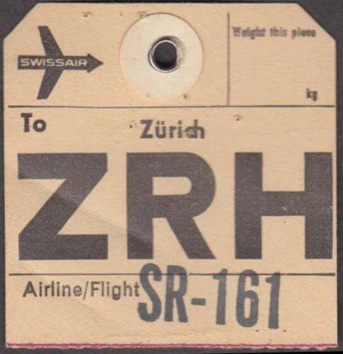 Swissair airlines flown baggage check Zurich 1960s