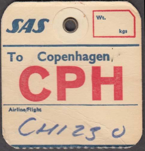 SAS Scandinavian Airlines flown baggage check CPH Copenhagen 1960s