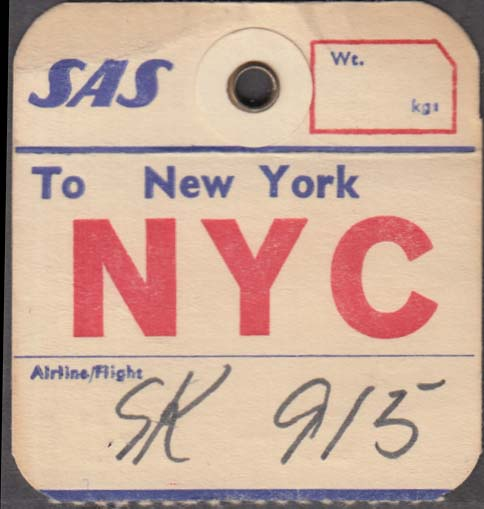 SAS Scandinavian Airlines flown baggage check NYC New York City 1960s