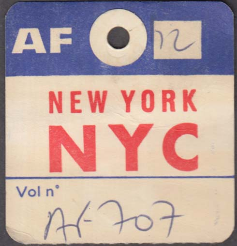Air France airlines flown baggage check NYC New York City 1960s