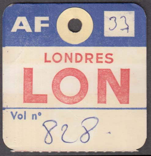 Air France airlines flown baggage check LON Londres London 1960s