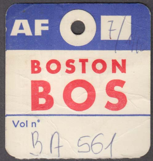 Air France airlines flown baggage check BOS Boston 1960s