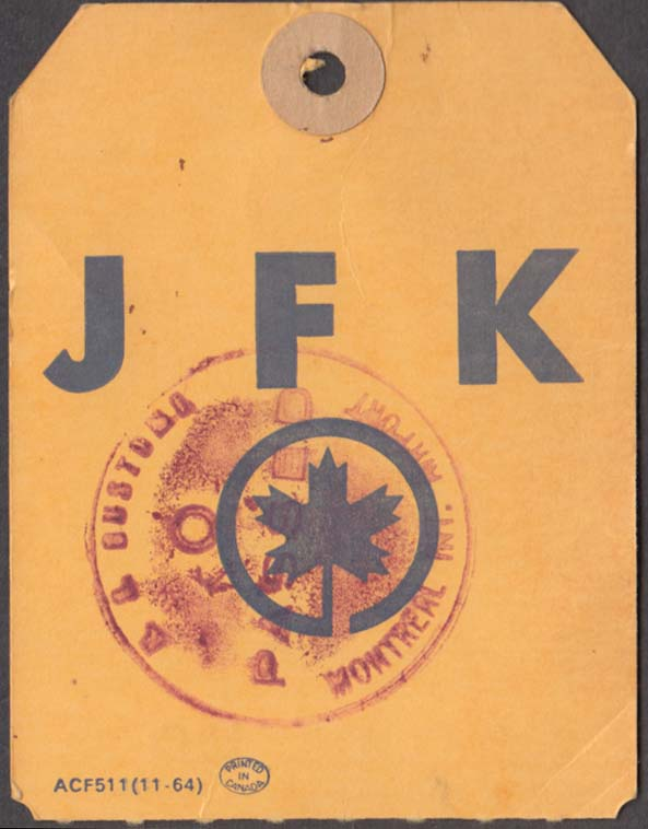 Air Canada Airlines flown baggage check JFK New York 11-1964