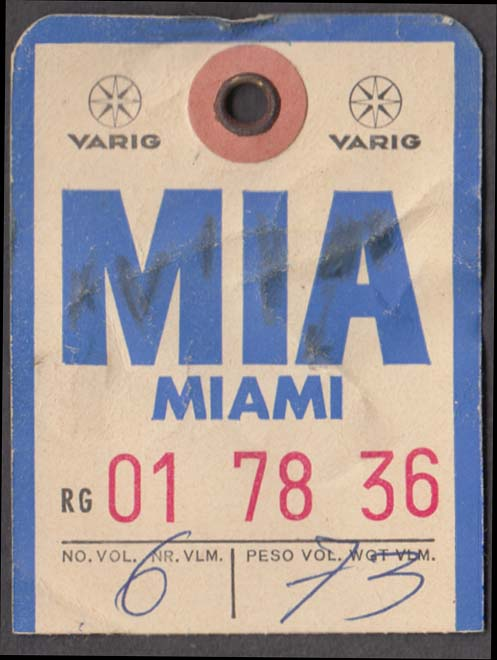 Varig Airlines Brazil flown baggage check MIA Miami 1960s