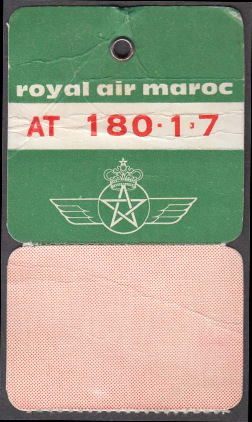 Royal Air Maroc airlines flown baggage check LPA Las Palmas Spain 1960s