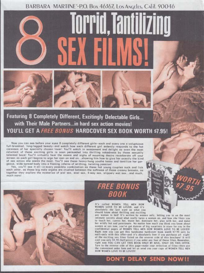 1970s sex films EIGHT assorted flyers Ultima Barnara Martine Diverse Greenbriar