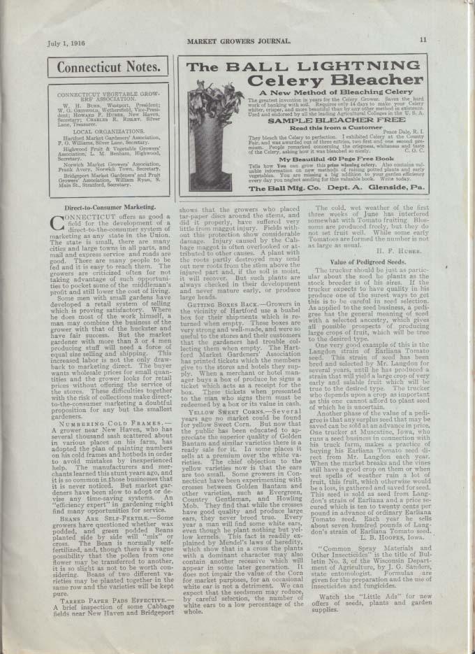 MARKET GROWERS JOURNAL Trade Paper 7/1 1916 watermelon wilt cabbage maggot