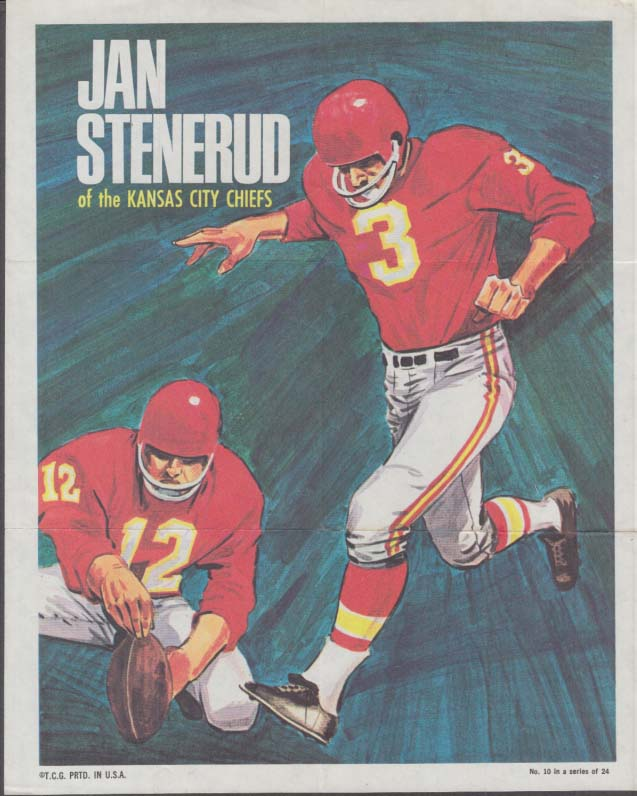 Kansas City Chiefs Jan Stenerud Topps #10 broadside 1970
