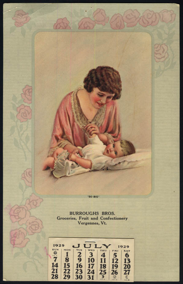 Image for Burroughs Bros Groceries Fruit & Confectionery calendar Vergennes VT 1929