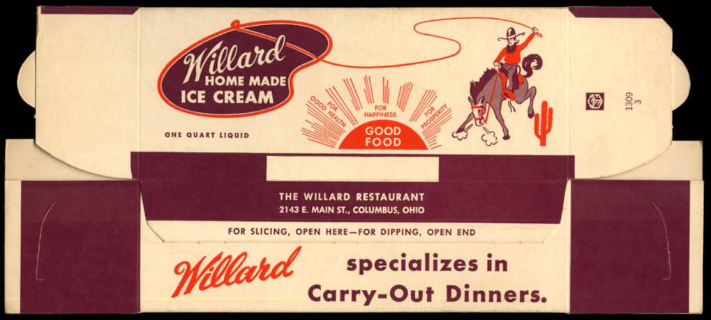 Willard Restaurant Home Made Ice Cream 1-quart container unused Columbus OH