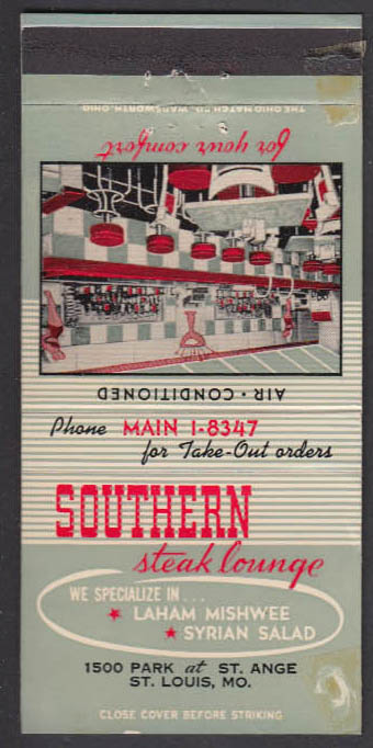 Image for Southern Steak Lounge 1500 Park at St Ange St Louis MO 30-stick matchcover