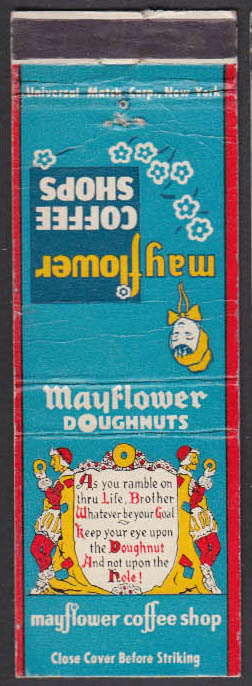 Image for Mayflower Coffee Shops Doughnuts matchcover NY CA IL OH DC PA MN MI TX MA
