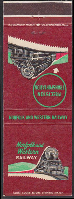 Image for Norfolk & Western Railway Precision Transportation map-back matchcover