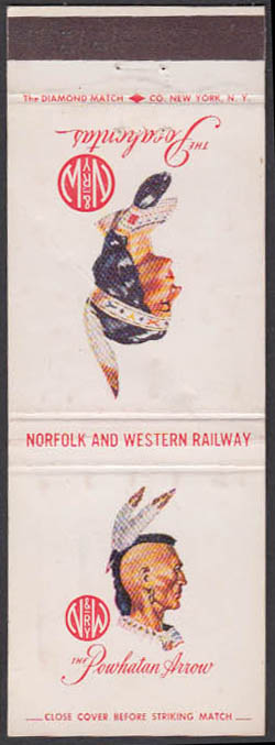 Image for Norfolk & Western Railway Powhatan Arrow & Pocahontas Streamliners matchcover