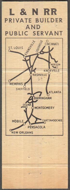Image for L&N Louisville & Nashville Railroad map-back matchcover