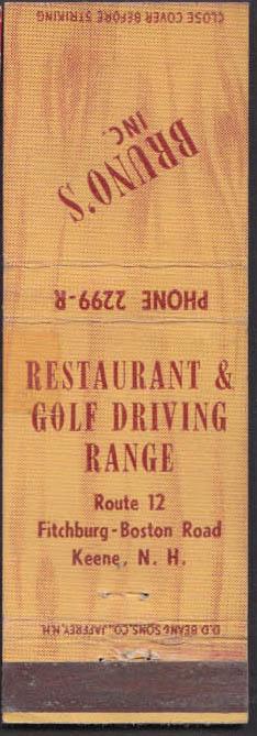 Image for Bruno's Restaurant & Golf Driving Range Route 12 Keene NH matchcover