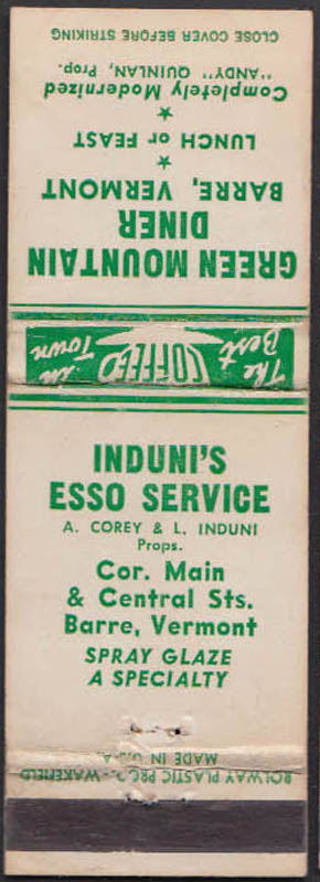 Image for Green Mountain Diner & Induni's Esso Service Barre VT matchcover