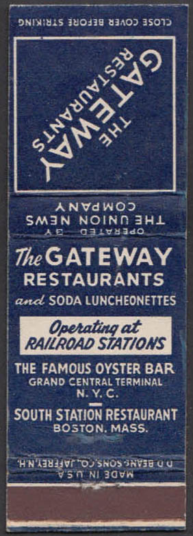 Image for Gateway Restaurants Grand Central NYC South Boston Station matchcover