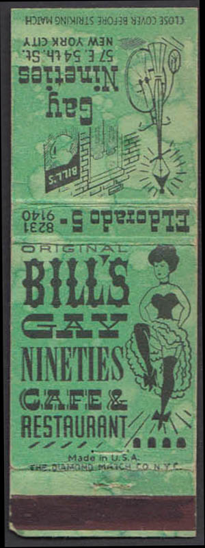 Image for Bill's Gay Nineties Caf & Restaurant 57 E 54th New York City matchcover