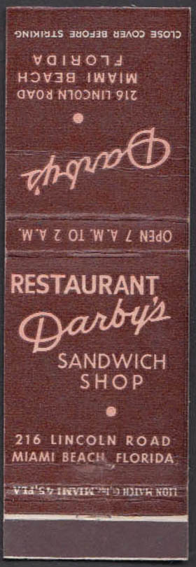 Image for Darby's Restaurant & Sandwich Shop 216 Lincoln Rd Miami Beach FL matchcover