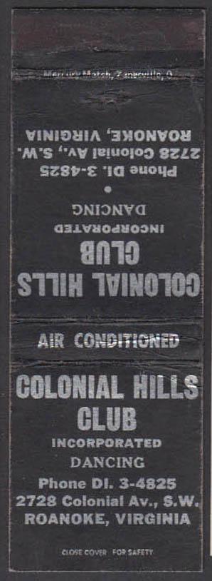 Image for Colonial Hills Club Dancing 2728 Colonial Av SW Roanoke VA matchcover