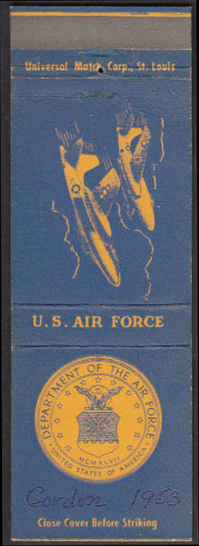 Image for United States Air Force jet fighters matchcover 1950s