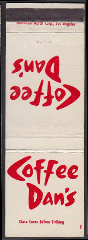 Image for Coffee Dan's Restaurants Los Angeles & Phoenix matchcover