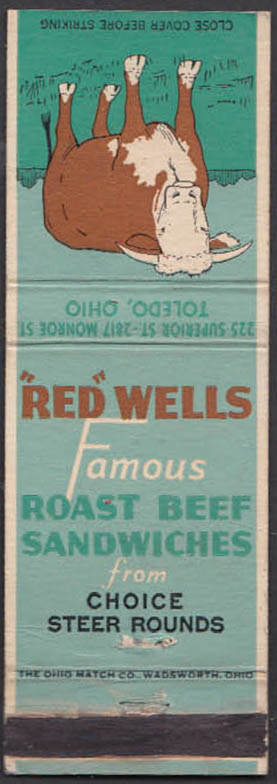 Image for Red Wells Famous Roast Beef Sandwiches Restaurant Toledo OH matchcover