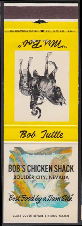 Image for Bob's Chicken Shack Boulder City NV matchcover Bob Tuttle