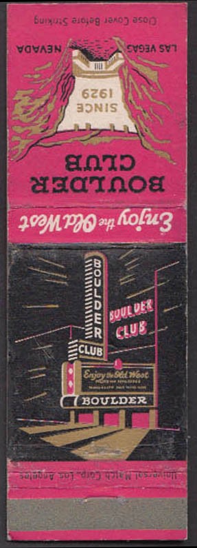 Image for Boulder Club Enjoy the Old West Since 1929 Las Vegas NV matchcover