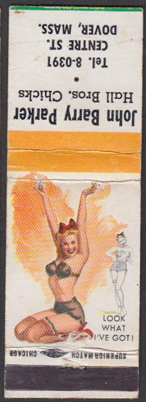 Image for Look What I've Got pin-up matchcover John Barry Parker Hall Bros Chicks Dover MA