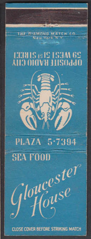 Image for Gloucester House Sea Food Restauarant 59 W 51st New York City matchcover