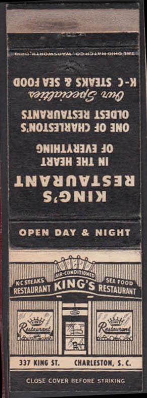 Image for King's Restaurant 337 King Street Charleston SC matchcover