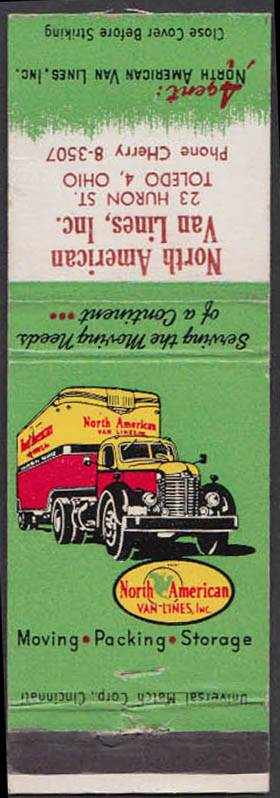 Image for North American Van Lines 23 Huron St Toledo OH matchcover