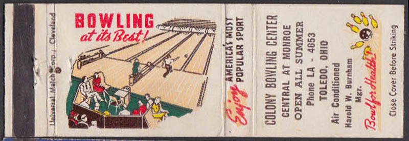 Image for Colony Bowling Center Central Central & Monroe Toledo OH matchcover