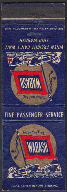 Image for Wabash Railroad Passenger Service & When Fzreight Cant Wait matchcover