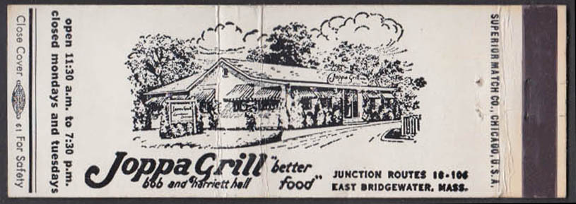 Image for Joppa Grill Rtes 10 & 106 E Bridgewater MA matchcover Bob & Harriet Hall