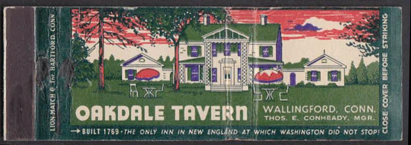 Image for Oakdale Tavern Hartford Turnpike Wallingford CT mapback matchcover