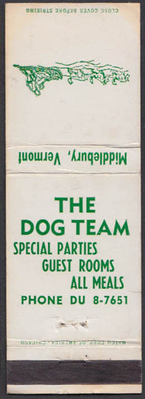 Image for The Dog Team Restaurant & Inn Middlebury VT matchcover