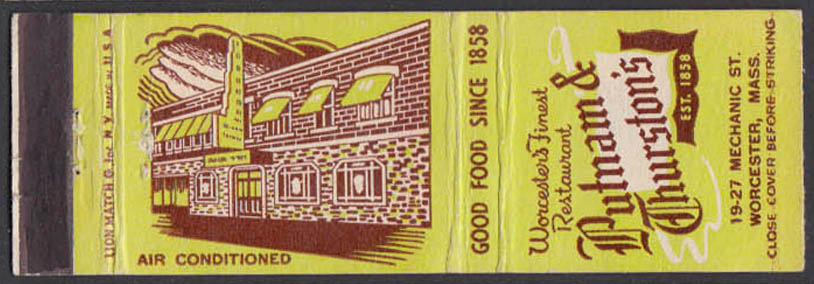 Image for Putnam & Thurston's Restaurant 19-27 Mechanic St Worcester MA matchcover