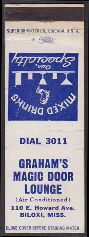 Image for Graham's Magic Door Lounge 110 E Howard Ave Biloxi MS matchcover