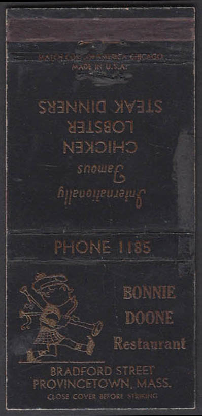 Image for Bonnie Doone Restaurant Bradford Street Provincetown MA Phone 1185 matchcover