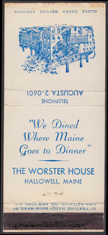 Image for The Worster House Restaurant Hallowell ME matchcover Augusta 2-0601