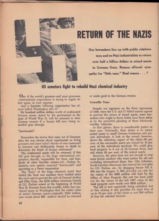 TRUTH 2-3 1958 Sen Symington; Volkswagen; US-USSR Race to the Moon; Nazis Return