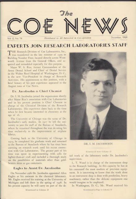 COE LABORATORIES NEWS 12 1929 new dental research labs Dr I M Jacobsohn +