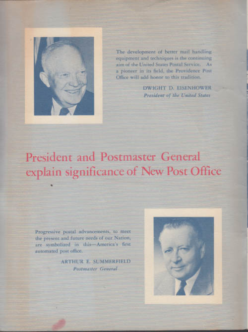 1st Automated Post Office in the USA Dedication Program Providence RI 1960