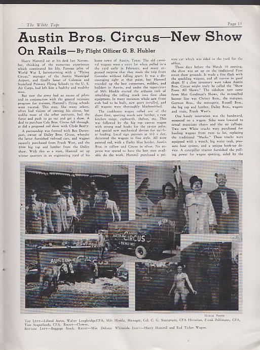 WHITE TOPS Circus Magazine 3-4 1945 Levi J North, Ringling Bros Cole Austin +